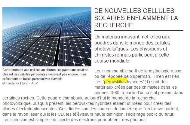 Cellules solaires au Perovskite